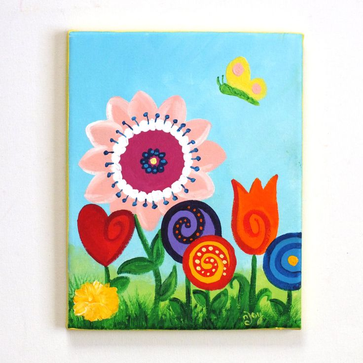 Kids wall art for girls room little butterfly garden for Kids room canvas