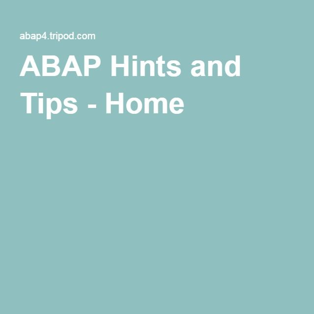ABAP Hints and Tips - Home