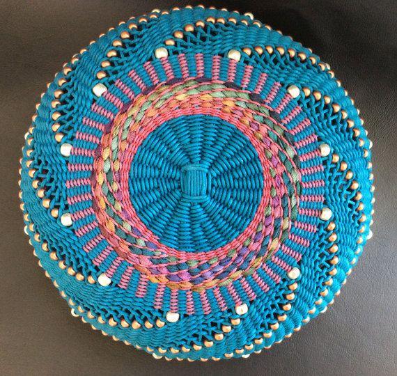 Twined Basket Hand Woven Basket Waxed Linen by TwistedSpokes