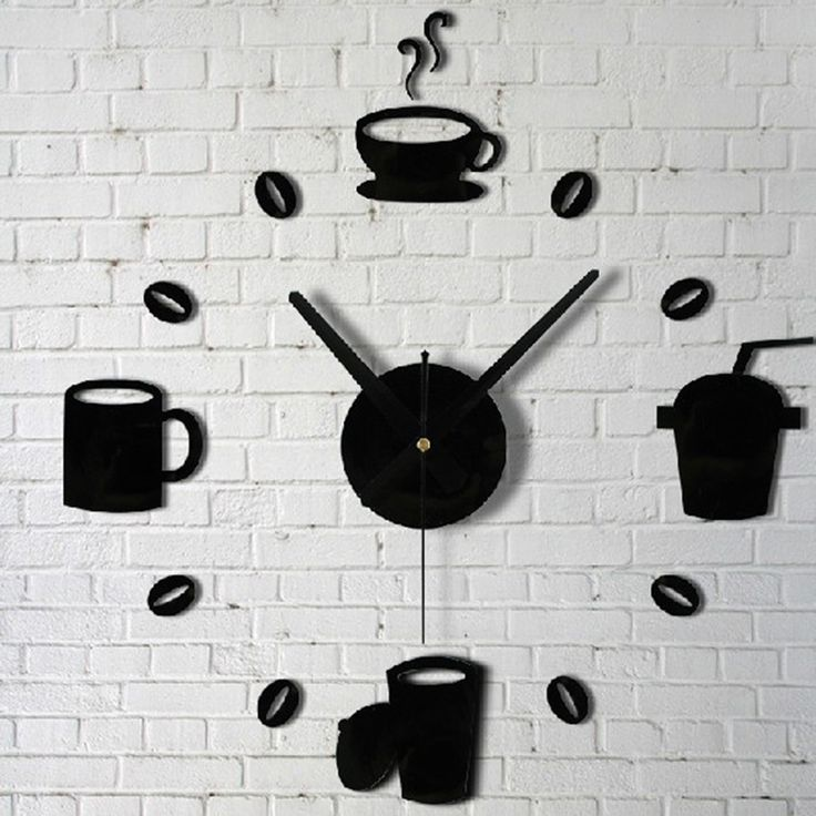 coffee cups beans 3d diy wall clock acrylic stickers quartz modern home decoration retro kitchen wall