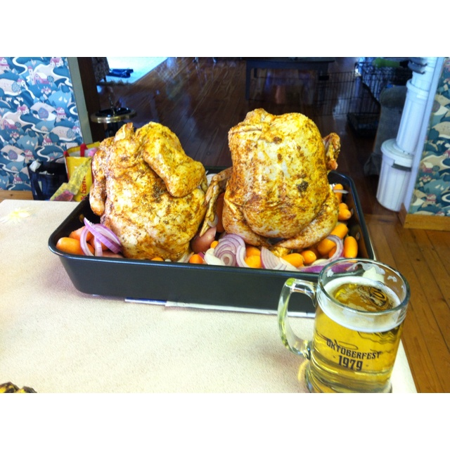 Beer in the butt chicken