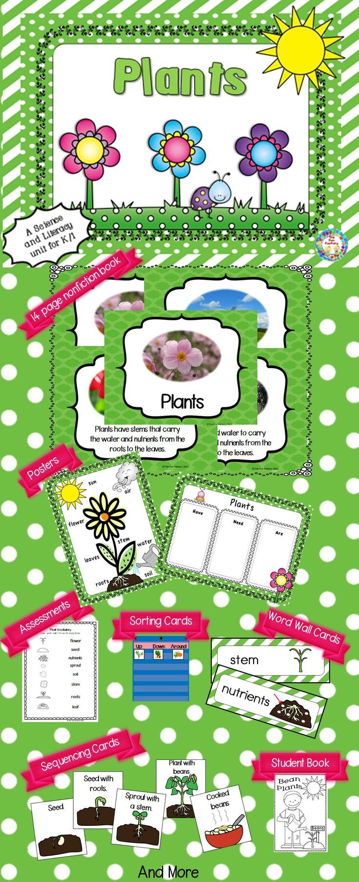$ This unit contains: A poster of the parts of the plant Word Wall cards that can also be used in the writing center A 14 page nonfiction book about plants Picture cards to sort at the pocket chart center by which way the edible part of a plant grows and a response sheet An 11 page read aloud about the life cycle of a bean plant A life cycle poster Picture cards to sequence the life cycle An 11 page student book to write about the life cycle 2 Assessment sheets