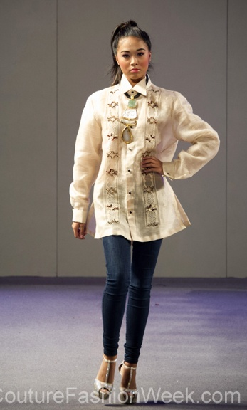 Barge Ramos Couture Fashion Week New York Spring 2013 #FashionWeek #Fashion #Couture #AndresAquino #Style #Women #Designer #Model #Tribal #Shirt