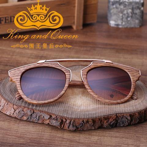 2016 Latest Retro Vintage Cat Eye Sunglasses for Women Brand Designer Imitation Wood Sun Glasses Men Driving Eyewear with Pouch - Vietees Shop Online - 1