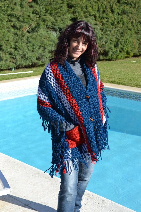 FREE SHIPPING / NEW Hand Woven Blue red and lavender by Cozyyarn, $140.00