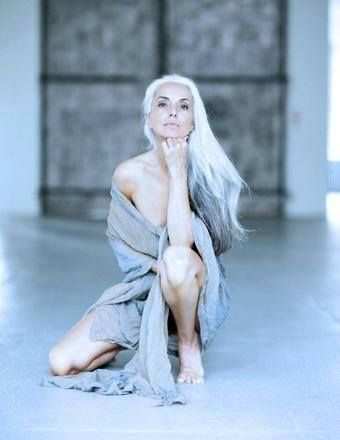 """Yasminia Rossi, 58 years old, model and photographer """"It protects me everywhere I go in the world"""", Ms Rossi said. """"I've been in deep Amazonia, I've been in Egypt, and in places completely isolated, and people were respectful of me because of my gray hair.""""."""