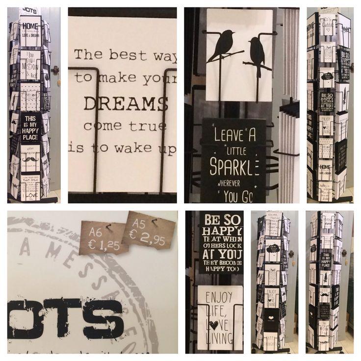 Nieuw bij Maison er Moi, deze hippe zwart-wit kaarten met geweldige teksten