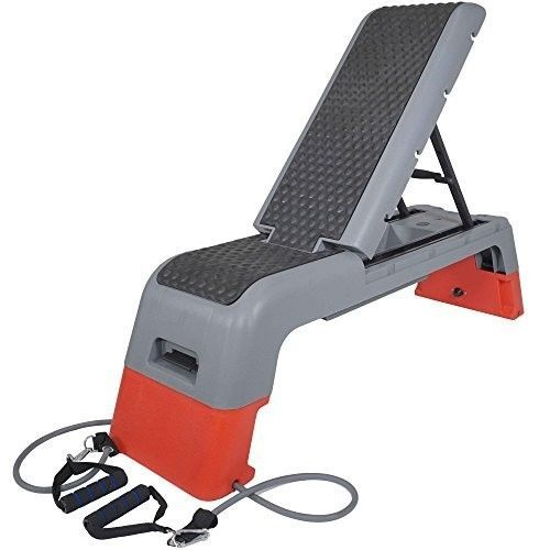Fitness-Deck-Workout-Bench-amp-Fitness-Station-Adjustable-Stepper-w-Storage-NEW