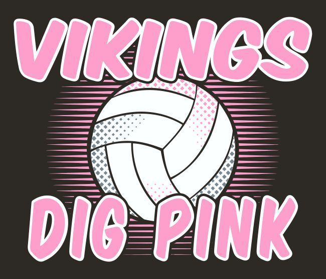 Vikings Dig Pink Volleyball Tee Design. #breastcancerawareness  #breastcancer #Pinkout #ThinkPink