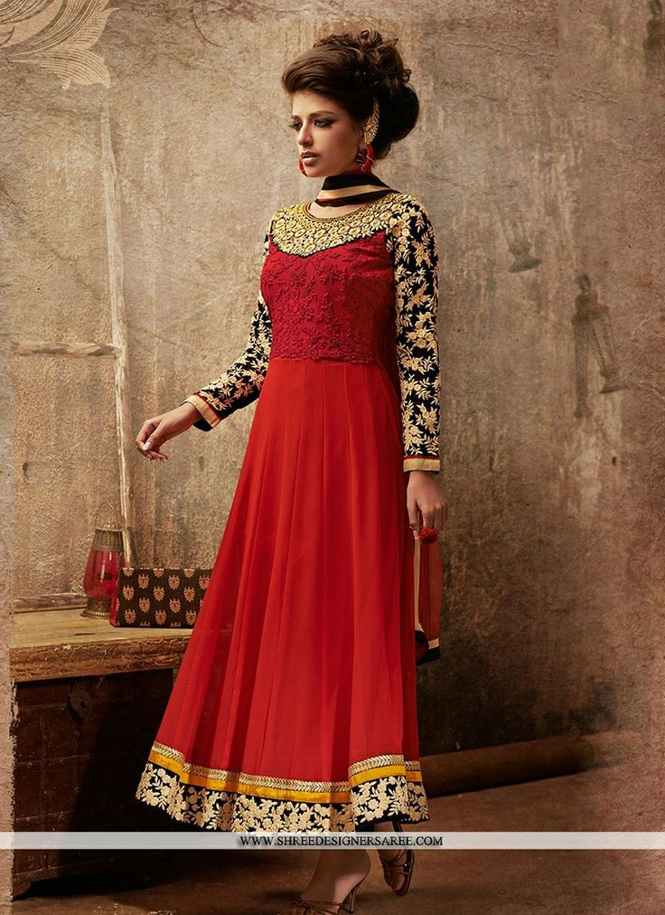 Selectable Red Georgette Designer Suit