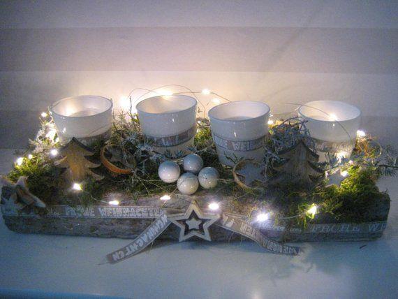 Wiederverwendbarer Xl Led Adventskranz Mit Windlichtern