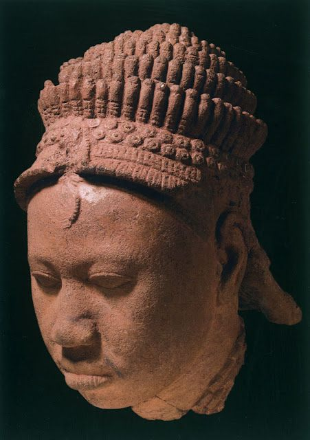 """Head with elaborate crown, 12th-15th century, terra-cotta (""""The Kingdom of Ife: Sculptures from West Africa,"""" British Museum)"""