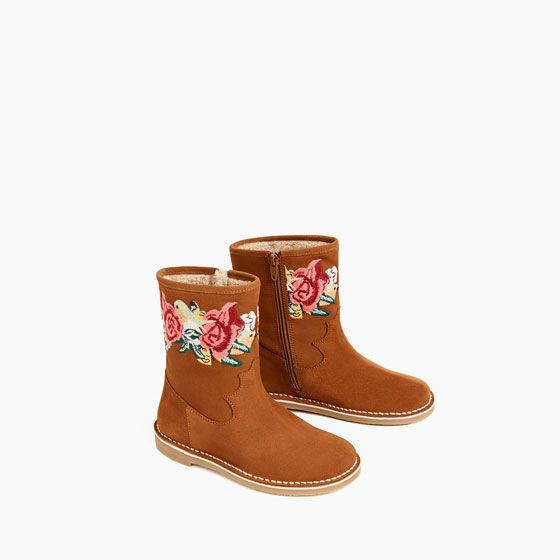 Image 3 of EMBROIDERED SPLIT SUEDE ANKLE BOOTS from Zara