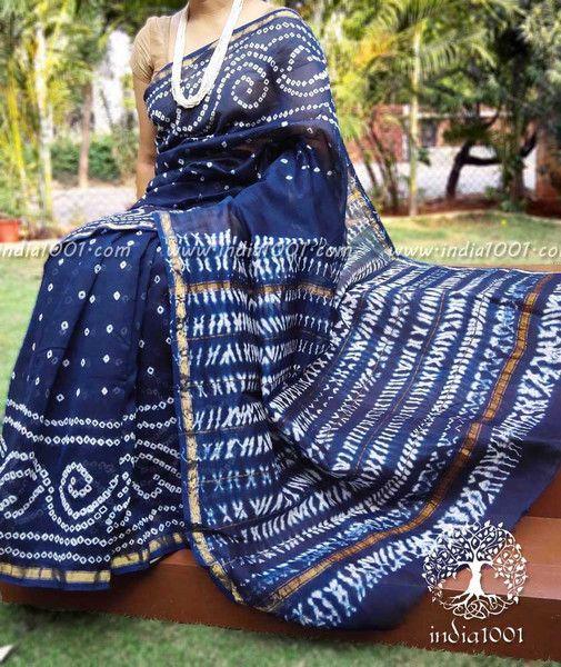 Handcrafted Bandhani & Shibori Chanderi Saree