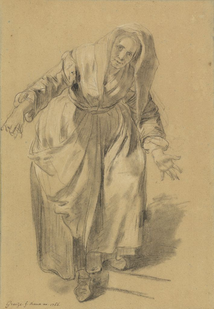 Old Woman with Arms Outstretched (Study for The Neapolitan Gesture); Jean-Baptiste Greuze (French, 1725 - 1805); 1756; Black and white chalk, with stumping, on faded blue paper; 47 x 31.6 cm (18 1/2 x 12 7/16 in.); 2003.14; Gift of Joseph F. McCrindle; J. Paul Getty Museum, Los Angeles, California