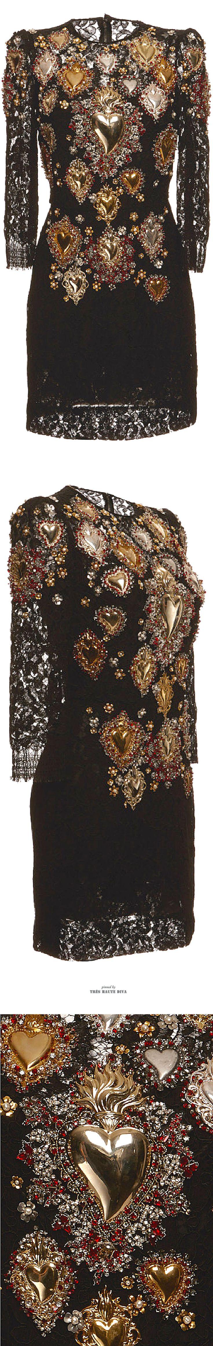 Dolce & Gabbana Sacred Heart Embellished Lace Shift Dress SS 2015