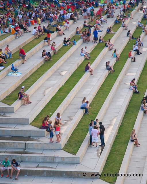 Step terraces of lawn and concrete at Waterfront Park in Chattanooga, Tennessee.