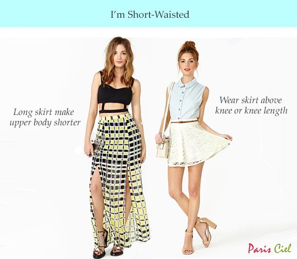 Wear skirt above or at knee length. Wearing long skirt (below knee) will only lengthen your lower body and thus making your upper body look even shorter. One way to offset this effect is to wear the same color top and skirt. Prints will work too.