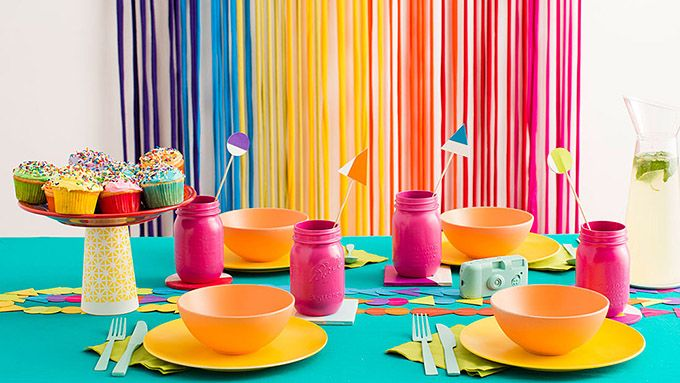 Here are some colorful ideas for easy rainbow party food and decor.