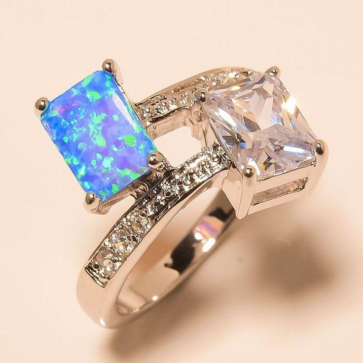 Australian Blue Fire Opal, White Topaz 925 Sterling Silver Jewelry Ring 7.5 #Handmade #Cocktail