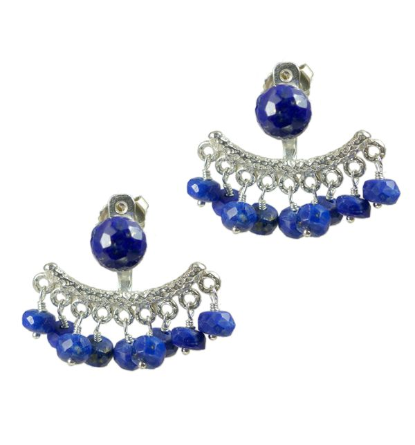 Mounir's earring jackets, the latest trend in earrings, will give an elegant edge to your look. This pair of stud earrings comes in sterling silver and has a cluster of Lapis Lazuli faceted beads and Lapis top. The back of the earrings is adjustable. Retailing at £86 http://www.mounir.co.uk/index.php?route=product/product&path=60_113&product_id=1986&limit=100 #earringjackets #backtofront #silver #sterlingsilver #lapislazuli #earrings #mounir #studs #jewellery