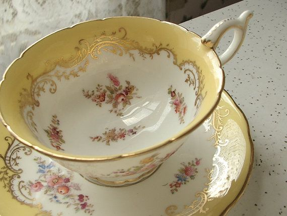 Antique Victorian tea cup set, vintage 1890s Coalport English tea cup, yellow and gold china tea set via Etsy