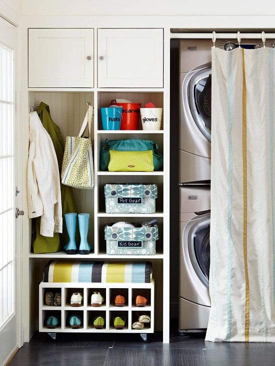 Back Door: Grab & Go. Laundry & storage in compact space.