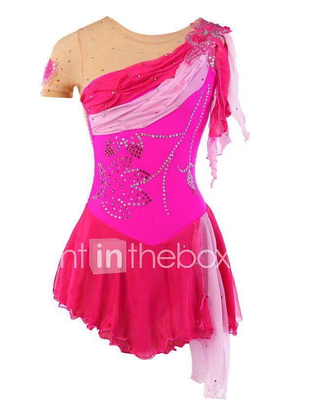 f449fce9da Vestidos para Patinação Artística Mulheres Para Meninas Patinação no Gelo  Vestidos Elastano Pedrarias Apliques Renda Lantejoulas