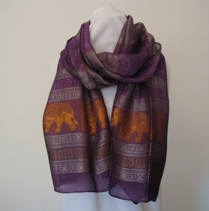 NEW!! Silk Scarf with Elephants in many colours | The Elephant Emporium