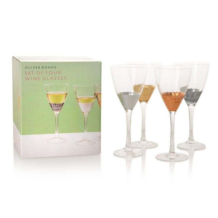 Buy the Set of Four Mixed Metallic Wine Glasses at Oliver Bonas. Enjoy free UK standard delivery for orders over £50.