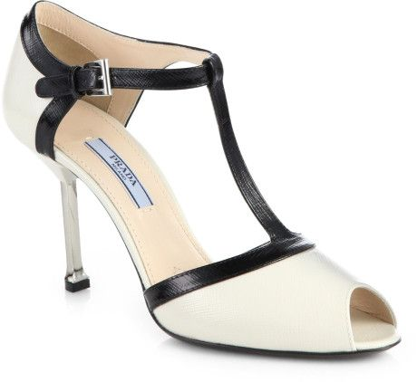 prada t-strap black and white | Prada Bicolor Saffiano Leather Tstrap Sandals in White (WHITE BLACK ...