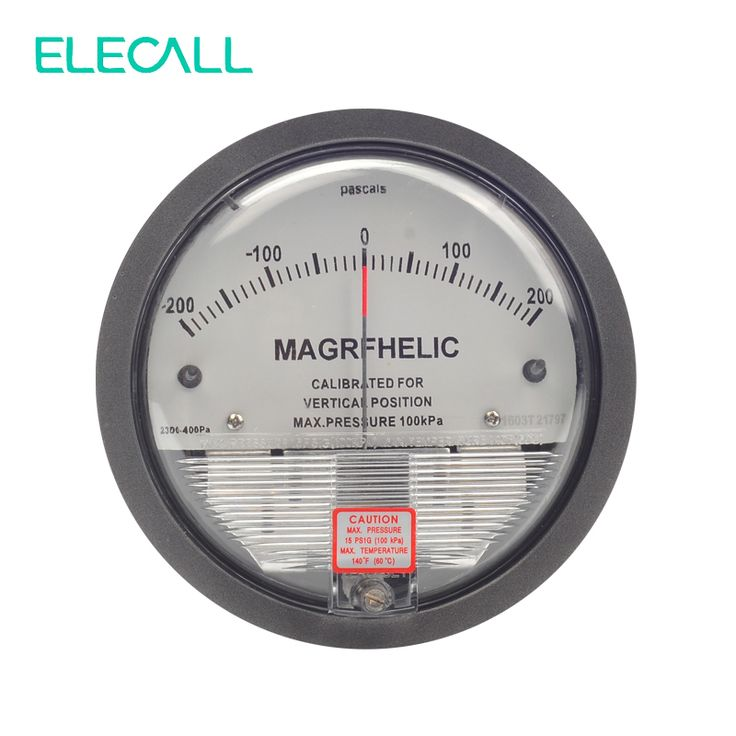 """ELECALL TE2000 -200~200PA Differential Pressure Gauge Round Type 4- 3/4"""" dia. X 2-3/16"""" Pointer Instrument Micromanometer"""