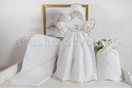 Makkaroni Kids Крестильный набор Пелагея для девочки  — 1440р. -  Пелагея - крестильный набор для девочки.  Комплект выполнен из натурального хлопка, украшен декоративной лентой и крестиком из страз.  В комплект входит все необходимое для крещения девочки для 0 - 3 мес.: Платье для крещения 52 см – 64 см  Пеленка с капюшоном (крыжма) 90 см х 90 см Чепчик 43 см Мешочек для хранения 20 см х 30 см В комплект входит все необходимое для крещения девочки для 3 - 6 мес.: Платье для крещения 64 см –…