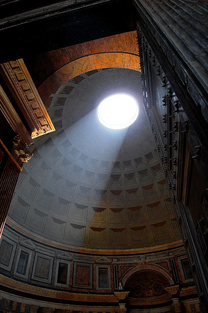 The Oculus (Eye) of the Pantheon, Rome (2,000 years after it was built, it is still the world's largest unreinforced concrete dome.)