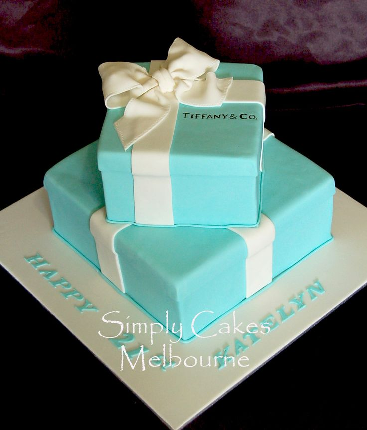 Tiffany Box Wedding Cake | Simply Cakes Melbourne: Two tier Tiffany Cake box