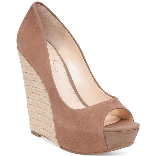 Jessica Simpson Bethani Peep-Toe Platform Wedge Pumps (190 AED) ❤ liked on Polyvore featuring shoes, pumps, heels, wedges, totally taupe, wedge espadrilles, taupe pumps, peep toe wedge shoes, taupe peep toe pumps and wedge heel pumps