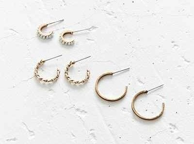 A band of pretty gold hoops with delicate, antiqued details. | 31 Super Cheap Earrings For People Who Always Lose Earrings