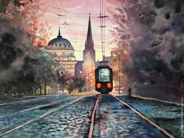 Купить Сонный трамвай - город, вечер, ночь, депо, трамвай, Сумерки, рельсы, акварельная бумага