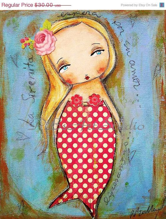 on sale La Sirenita The little MermaidOriginal por PBsArtStudio