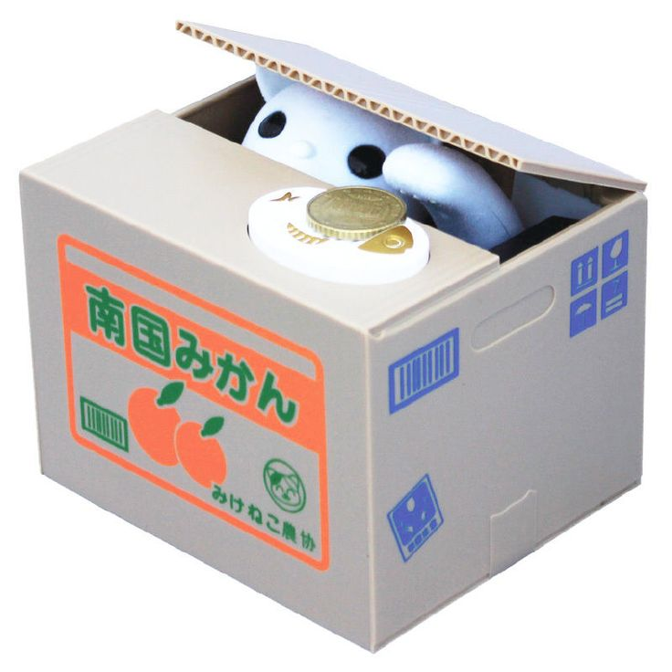 Elektronische Spardose Katze in der Kiste, Sparbüchse, Sparschwein, Gelddose