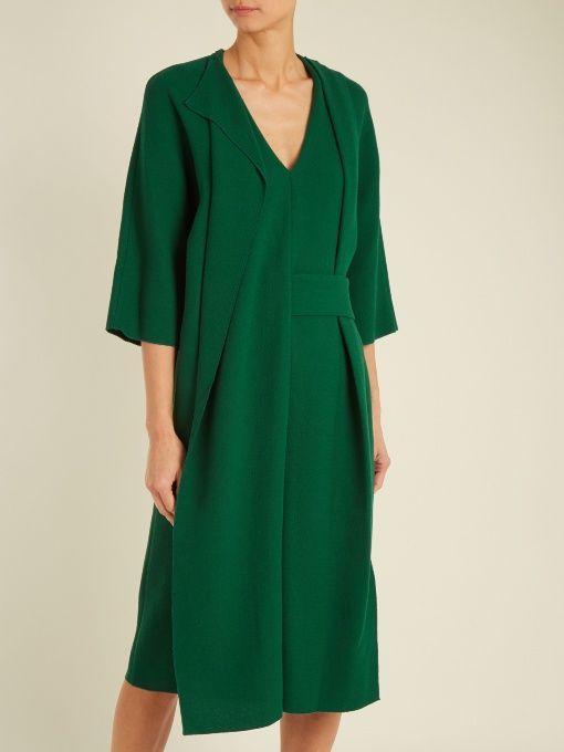 Carl Kapp Asymmetric V-neck wool-crepe dress