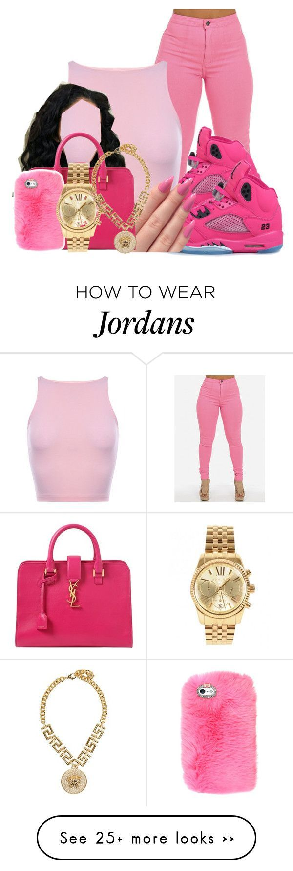 """pink"" by dekaylaxoxo on Polyvore featuring moda, Yves Saint Laurent, Michael Kors e Versace"