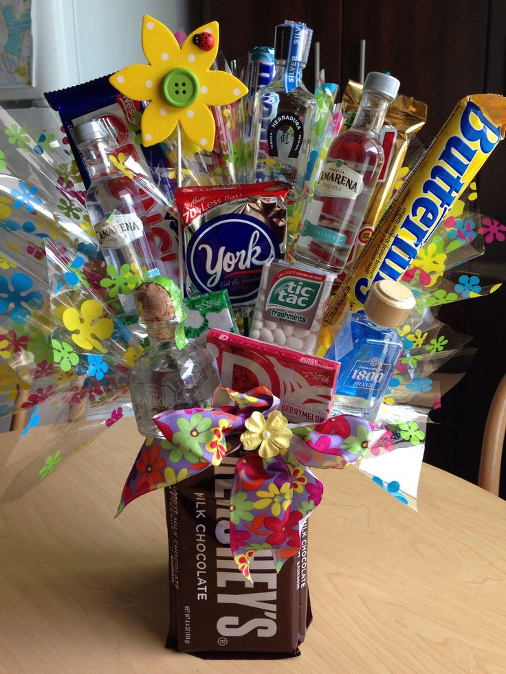 Cute 21st birthday idea! Candy bouquet with mini alcohol bottles added in