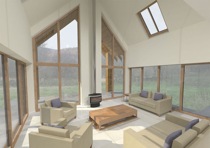 New energy efficient house in Ballogie Aberdeenshire designed by www.jamstudio.uk.com - 3D concept image - Double height living room