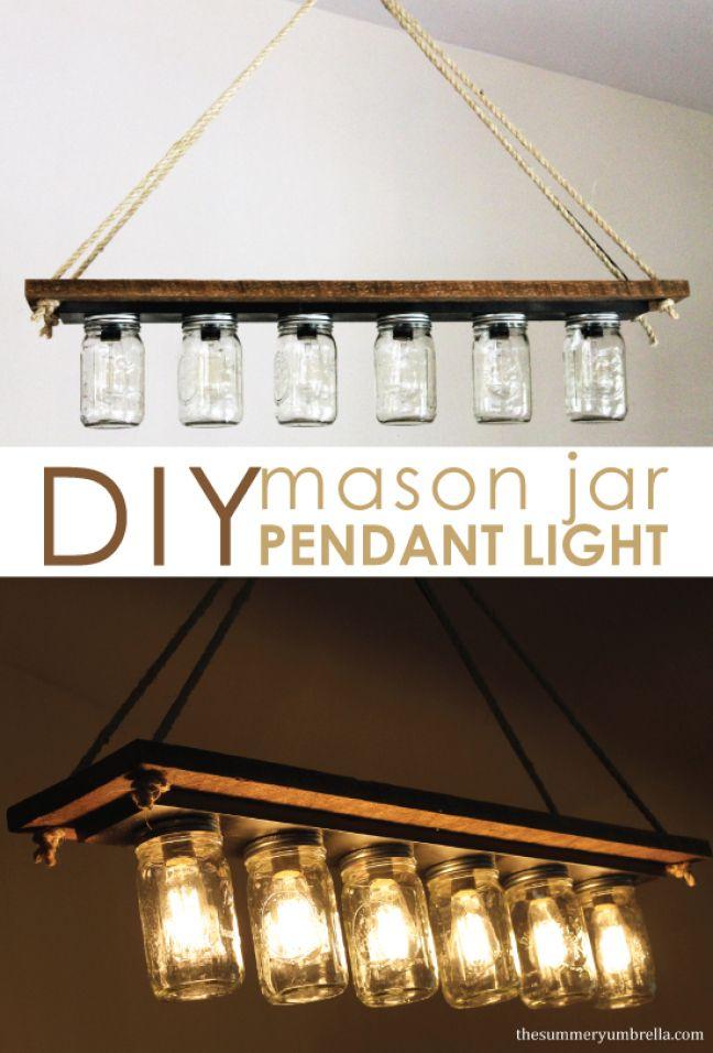 Mason Jar Pendant Light - The Summery Umbrella