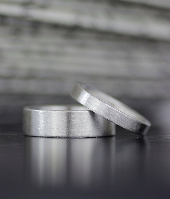 men's or women's flat band wedding band set - 100% recycled metal - ethically sourced his hers - his his - hers hers - made by lolide