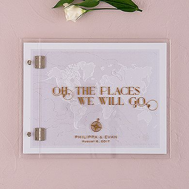 Vintage Travel Personalized Wedding Guest Book with Clear Acrylic Cover $68. Takes 2.5 weeks to deliver
