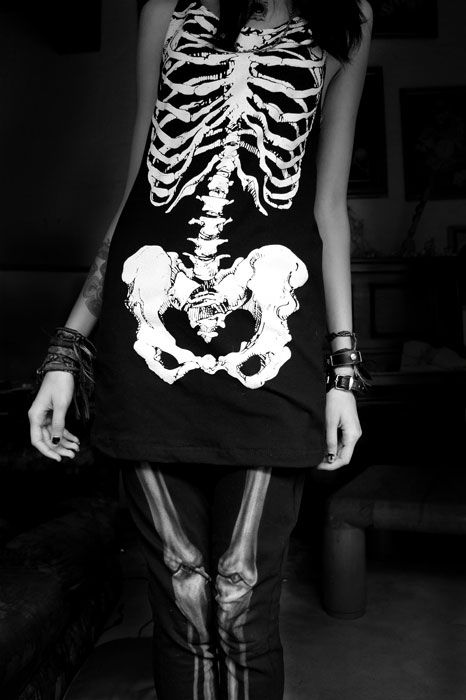 goth skeleton dress. I'd totally wear that!