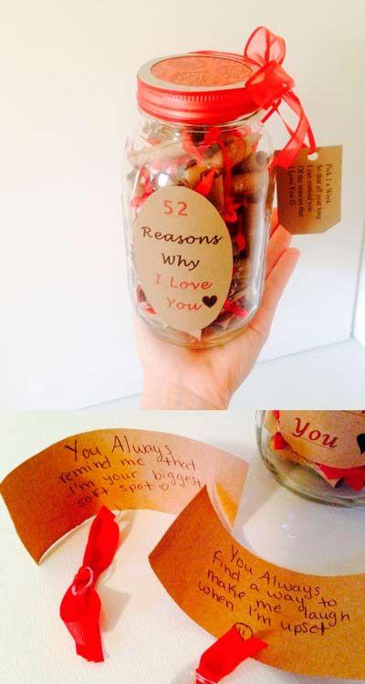 idea para regalar en San Valentín, día de los enamorados:  tarro con motivos por los que te quiero