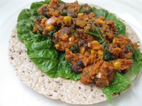 sweet potato black bean and spinach burritos
